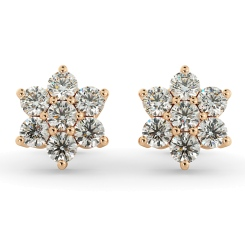 HERCL103 Round cut Diamond Floral Cluster Earrings - rose
