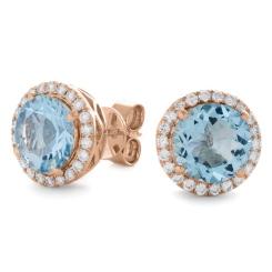 HERGAQ295 Round cut Aquamarine Single Halo Earrings - rose
