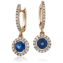 HERGBS253 Round Blue Sapphire Single Halo Earrings - rose