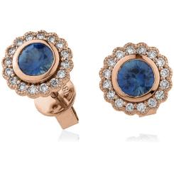 HERGBS260 Round Cut Blue Sapphire Halo Earrings - rose