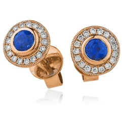 HERGBS263 Brillant Cut Blue Sapphire Halo Earrings - rose