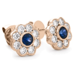 HERGBS266 Designer Floral Shape Blue Sapphire Halo Earrings - rose