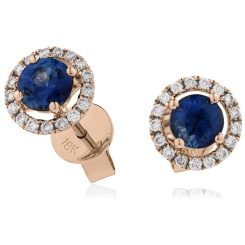HERGBS268 Round cut Blue Sapphire Claw Halo Earrings - rose