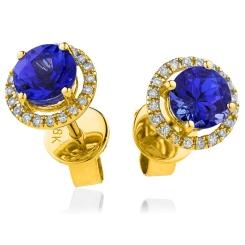 HERGBS269 Round Shape Blue Sapphire & Diamond Earrings - yellow