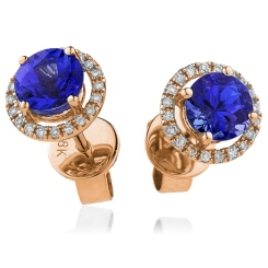 HERGBS269 Round Shape Blue Sapphire & Diamond Earrings - rose