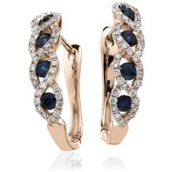 HERGBS285 Blue Sapphire Multistone Earrings - rose
