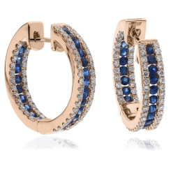 HERGBS287 Blue Sapphire Microset Designer Hoop Earrings - rose