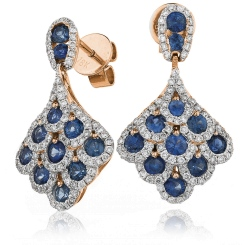 HERGBS288 Blue Sapphire Cluster Drop Earrings - rose