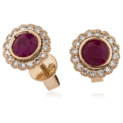 HERGRY262 Round Cut Ruby Single Halo Earrings - rose
