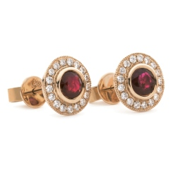 HERGRY265 Round Shape Ruby Halo Earrings - rose