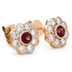 HERGRY267 Designer Floral Shape Ruby Halo Earrings - rose