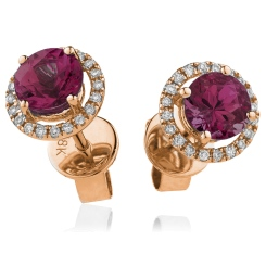 HERGRY270 Round Shape Ruby & Diamond Earrings - rose