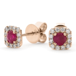 HERGRY277 Round Shape Ruby Gemstone Earrings - rose