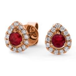 HERGRY282 Round cut Ruby & Diamond Stud Halo Earrings - rose