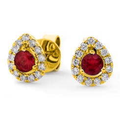 HERGRY282 Round cut Ruby & Diamond Stud Halo Earrings - yellow