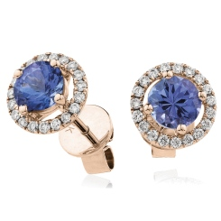HERGTZ291 Round cut Tanzanite Halo Earrings - rose