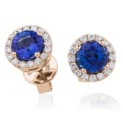 HERGTZ292 Tanzanite Gemstone Halo Earrings - rose