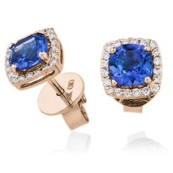 HERGTZ294 Round cut Tanzanite Single Halo Earrings - rose