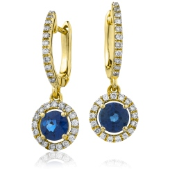 HERGBS253 Round Blue Sapphire Single Halo Earrings - yellow