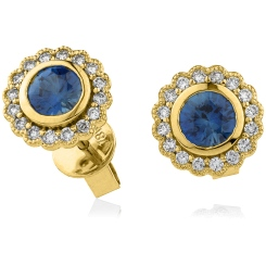 HERGBS260 Round Cut Blue Sapphire Halo Earrings - yellow