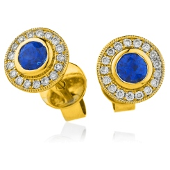 HERGBS263 Brillant Cut Blue Sapphire Halo Earrings - yellow