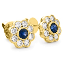 HERGBS266 Designer Floral Shape Blue Sapphire Halo Earrings - yellow