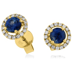 HERGBS268 Round cut Blue Sapphire Claw Halo Earrings - yellow