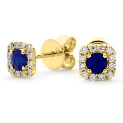 HERGBS276 Round Shape Blue Sapphire Earrings - yellow