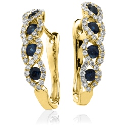 HERGBS285 Blue Sapphire Multistone Earrings - yellow