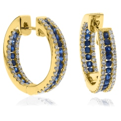 HERGBS287 Blue Sapphire Microset Designer Hoop Earrings - yellow