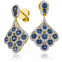 HERGBS288 Blue Sapphire Cluster Drop Earrings - yellow