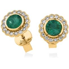 HERGEM261 Round Cut Emerald Gemstone Halo Earrings - yellow