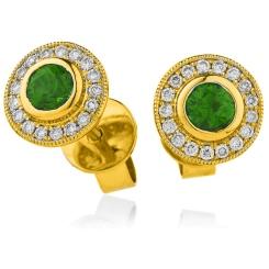 HERGEM264 Brilliant Cut Emerald Gemstone Halo Earrings - yellow