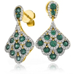 HERGEM289 Emerald Gemstone Cluster Drop Earrings - yellow