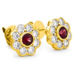 HERGRY267 Designer Floral Shape Ruby Halo Earrings - yellow