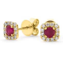 HERGRY277 Round Shape Ruby Gemstone Earrings - yellow