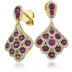 HERGRY290 Ruby Gemstone Cluster Drop Earrings - yellow