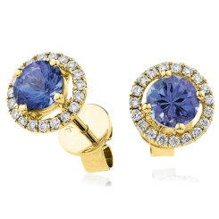 HERGTZ291 Round cut Tanzanite Halo Earrings - yellow