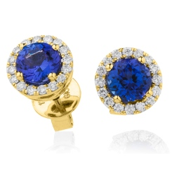 HERGTZ292 Tanzanite Gemstone Halo Earrings - yellow