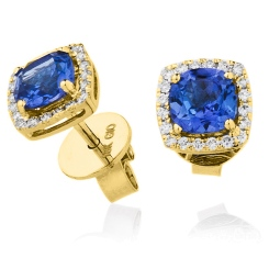 HERGTZ294 Round cut Tanzanite Single Halo Earrings - yellow