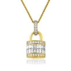 HPBDR137 Baguette & Round cut Lock & Key Diamond Pendant - yellow