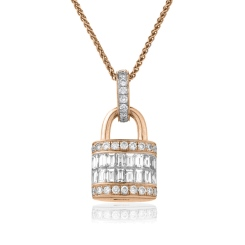 HPBDR137 Baguette & Round cut Lock & Key Diamond Pendant - rose