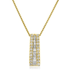 HPBDR187 Round & Baguette cut Drop Diamond Pendant - yellow