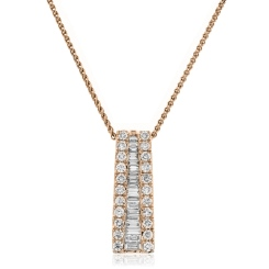 HPBDR187 Round & Baguette cut Drop Diamond Pendant - rose