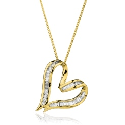 HPBDR198 Twisted Heart Baguette cut Diamond Pendant - yellow