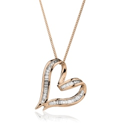 HPBDR198 Twisted Heart Baguette cut Diamond Pendant - rose