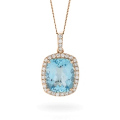 HPCGAQ236 Cushion cut Aquamarine Halo Pendant - rose