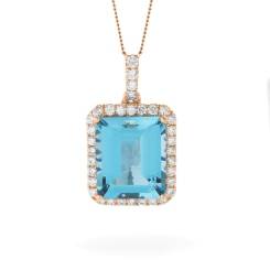 HPEGAQ234 Emerald Shape Aquamarine Halo Pendant - rose