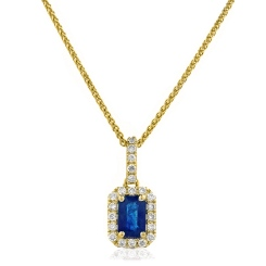 HPEGBS248 Emerald Shape Blue Sapphire Halo Pendant - yellow