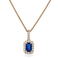 HPEGBS248 Emerald Shape Blue Sapphire Halo Pendant - rose
